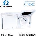 Double prise horizontale étanche IP55 en saillie 2P+T 16A OXXO Eurohm Eur'Ohm