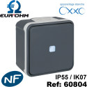 Interrupteur étanche IP55 plexo de type Bouton poussoir lumineux voyant bleu SAILLIE OXXO-Eurohm Eur'Ohm