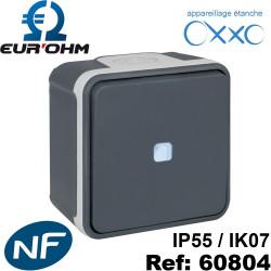 Interrupteur étanche IP55 plexo de type Bouton poussoir lumineux voyant bleu SAILLIE OXXO-Eurohm