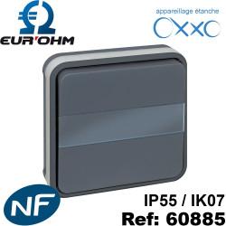Bouton poussoir étanche IP55 avec porte-étiquette lumineux encastré NF OXXO Euro Eur'Ohm