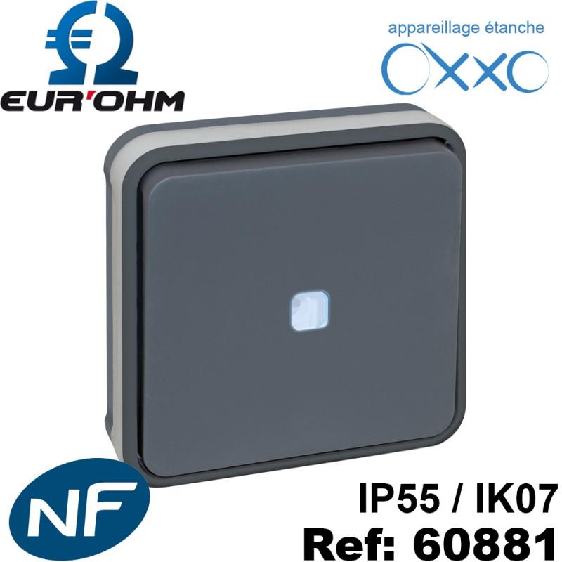 Interrupteur étanche IP55 plexo de type Va et vient lumineux ENCASTRÉ OXXO Eurohm