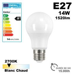 Ampoule LED E27 IQ-LED A60 14W 1520lm 2700K - Garantie 3 ans - TUV Certified