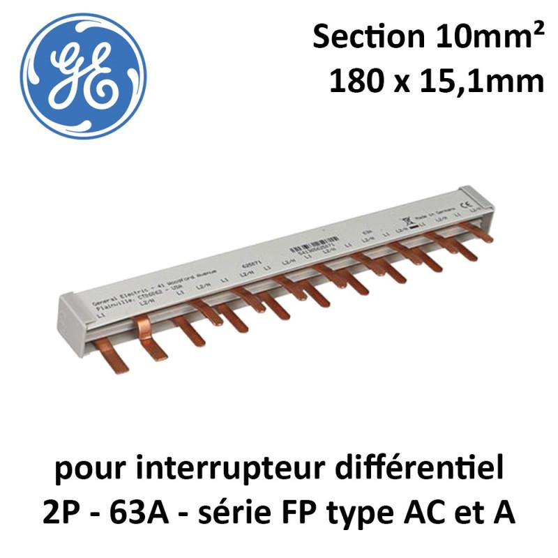 Peigne d'alimentation 63A pour interrupteur différentiel 2P General Electric