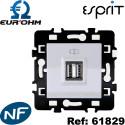Prise double chargeur USB femelle Blanc Esprit Eurohm - 1 poste Eur'Ohm