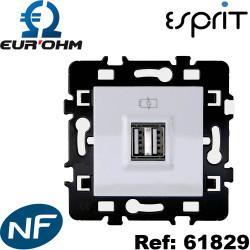 Prise double chargeur USB femelle Blanc Esprit Eurohm - 1 poste