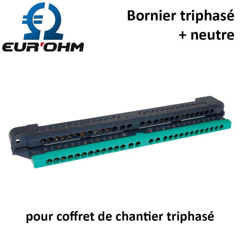 Bornier triphasé complet IP2X pour coffret étanche Eurohm Eur'Ohm