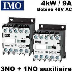 Contacteur bobine 48V - 3NO + 1 NO 4kW 9a 48V AC (fixable sur rail DIN)