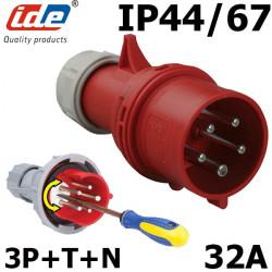 Fiche tétrapolaire inverseur de phase 32a 3P+N+T IP44