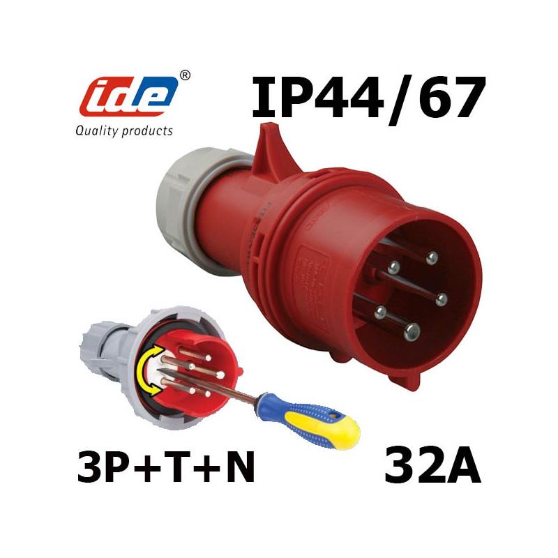 Fiche tétrapolaire inverseur de phase 32a 3P+N+T IP44 IDE
