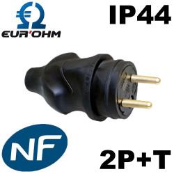 Prise male noire en caoutchouc 2P+T 16A étanche IP44 Eurohm