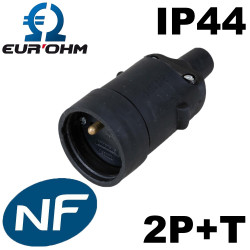 Fiche femelle noire en caoutchouc 2P+T 16A IP44 Eurohm Eur'Ohm