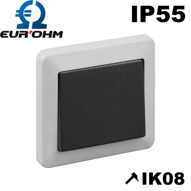 Interrupteur étanche encastrable 16A gris Eurohm Ouessant Eur'Ohm