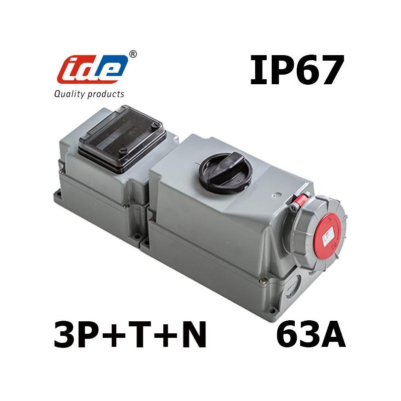 Coffret prise tétra 63a 380V avec sectionneur cadenassable IDE