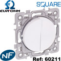 Double poussoir à fermeture (2 contacts NO) Blanc Square Eurohm Eur'Ohm