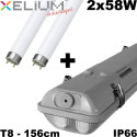 Réglette étanche 2X58W Xelium Ascari IP66 livré avec 2 Tubes 840 + 2 étriers inox