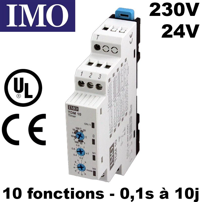Relais temporisé multifonction 24V 230V AC/DC - 10 fonctions