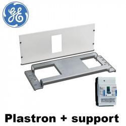 Plastron + fixation disjoncteur tarif jaune GE sur armoire Quixtra