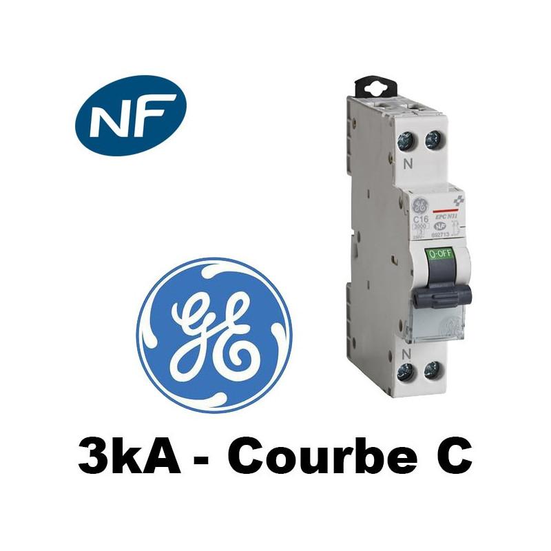 Disjoncteur Phase Neutre 3KA Courbe C General Electric General Electric
