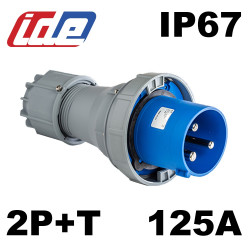 Fiche male 2P+T monophasé 125A IP67 IDE