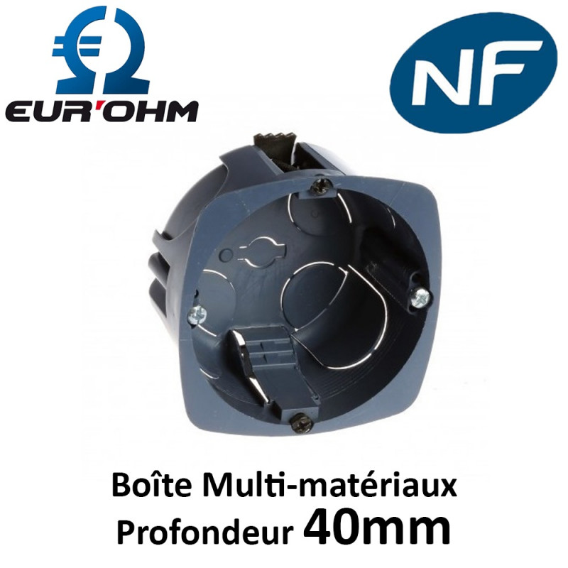 Boîte multi-matériaux 1 poste Ø67mm profondeur 40mm Eur'Ohm