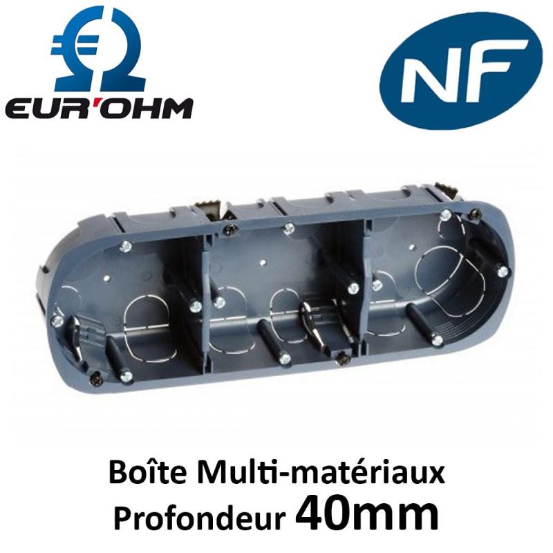 Boîte multi-matériaux 3 postes Ø67mm profondeur 40mm Eur'Ohm