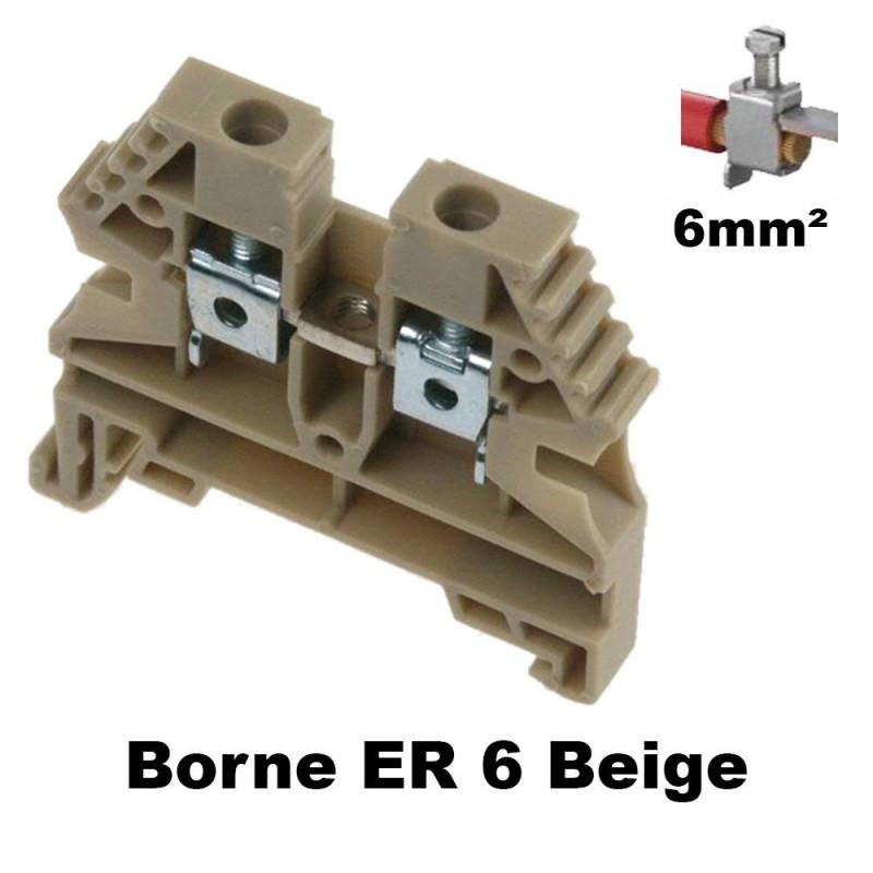 Borne ER 6mm² à vis - Bornier à clipser sur rail DIN