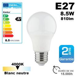 Ampoule LED E27 8,5W 810lm 4000K 15,000h