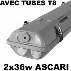 Reglette néon 2x36W étanche + 2 tubes fluo Kanlux