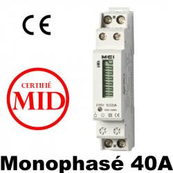 Compteur modulaire MID 40A avec afficheur LCD en KWH