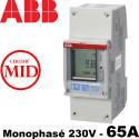 Compteur ABB Monophase 230V Mesure Directe 65A certifié Mid