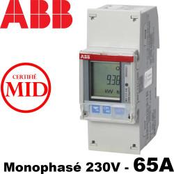 Compteur ABB Monophase 230V Mesure Directe 65A certifié Mid ABB