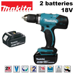 Perceuse visseuse 18V + 2 batteries Li-Ion 3Ah - en coffret