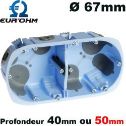 Boite d'encastrement Eur'Ohm AIRMETIC Double poste Ø67mm profondeur 50mm ou 40mm