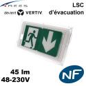Luminaire sur source centrale évacuation - 48V / 230V - 45lm Vertiv