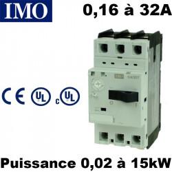 Disjoncteur moteur magnétothermique 0,16A à 32A