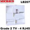 Tableau de communication Michaud LB207 NEO Grade 2 TV 4RJ45 + TV 2 sorties Michaud