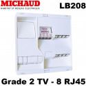 Tableau de communication Michaud LB208 NEO Grade 2 TV 8x RJ45 + TV 4 sorties Michaud