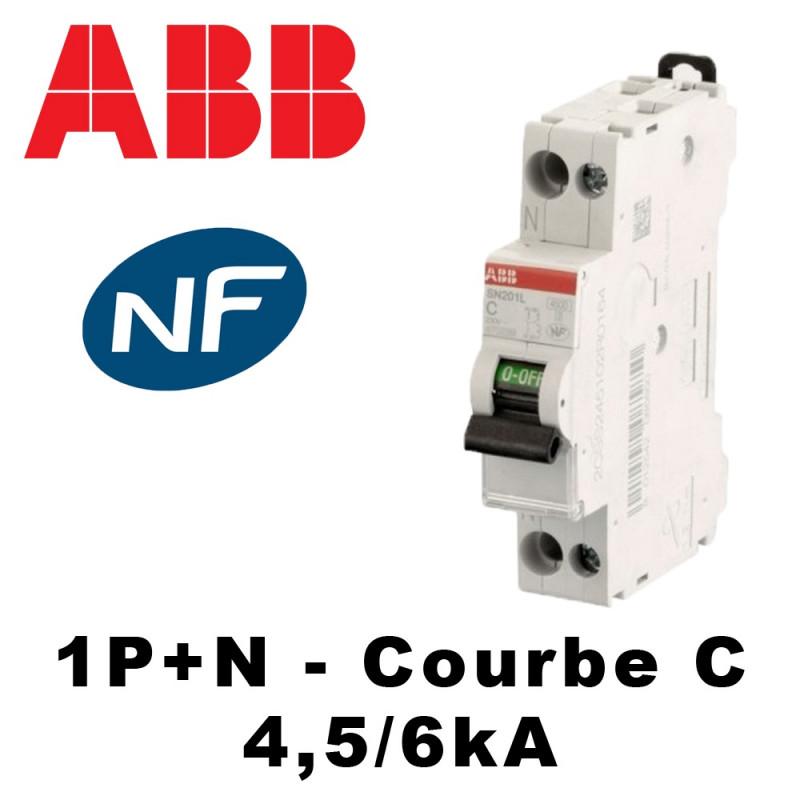 Disjoncteur phase neutre 4,5kA Courbe C - 2A à 40A ABB