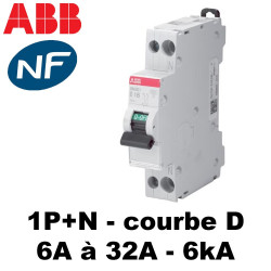 Disjoncteur phase/neutre Courbe D 6KA ABB