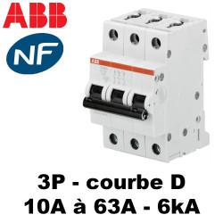 Disjoncteur tripolaire Courbe D 6KA