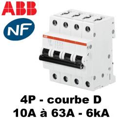 Disjoncteur tétrapolaire Courbe D 6KA