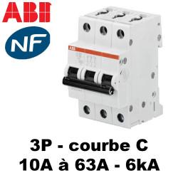 Disjoncteur triphasé 6kA Courbe C ABB