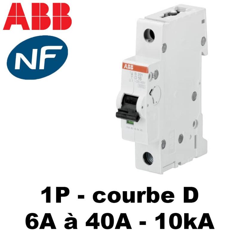 Disjoncteur Unipolaire courbe D 10kA ABB