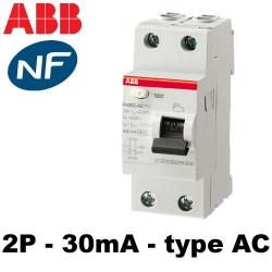 Interrupteur différentiel bipolaire 30mA type AC ABB