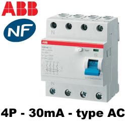 Interrupteur différentiel tétrapolaire 30mA ABB