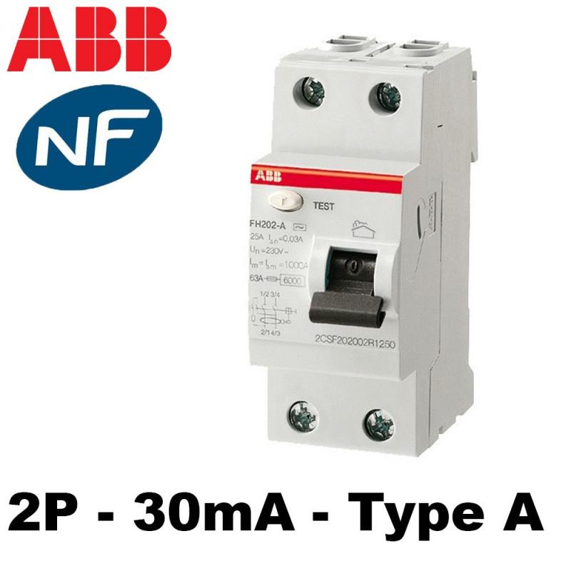 Interrupteur différentiel type A 30mA ABB