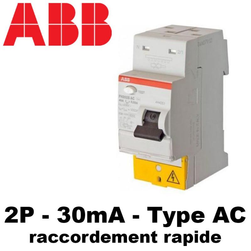 Interrupteur différentiel 30mA type AC bipolaire ABB