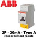 Interrupteur différentiel type A 30mA 2P FH202S ABB