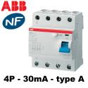 Interrupteur différentiel tétra 3P+N 30mA type A ABB