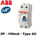 Interrupteur différentiel 100mA 2P Type AC ABB